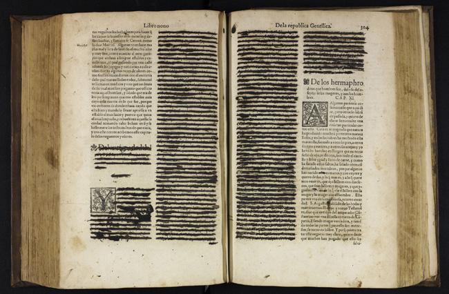 Livro censurado pela Inquisição em Portugal. Os trechos considerados impróprios eram cobertos com tinta negra
