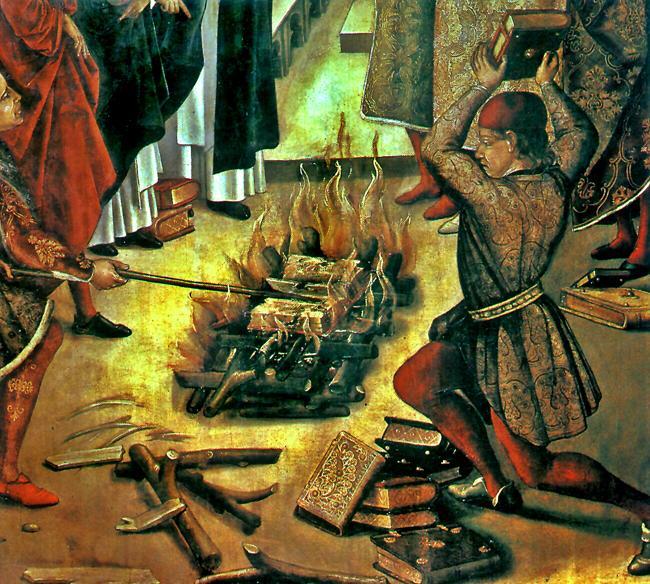 Ilustração de queima de livros considerados heréticos