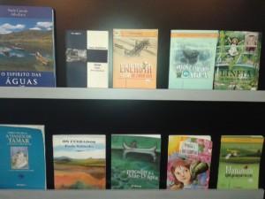Exposição de livros cuja temática é a água. Foto: Luciana Rodrigues/Revista Biblioo