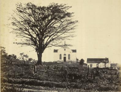 Igreja Catholica da rua da Telheira, 1866. Joinville, SC. (Foto: Louis Niemeyer/Acervo BN)