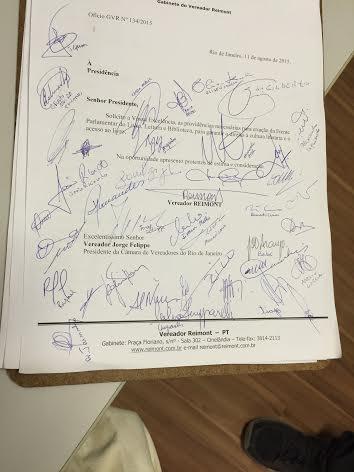 Ofício de criação da Frente Parlamentar com assinaturas dos vereadores Foto: Conexão Leitura