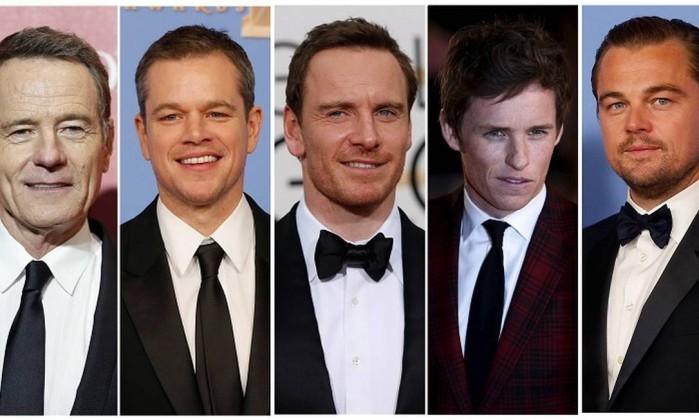 Bryan Cranston, Matt Damon, Michael Fassbender, Eddie Redmayne, and Leonardo DiCaprio na categoria melhor ator - STAFF / REUTERS
