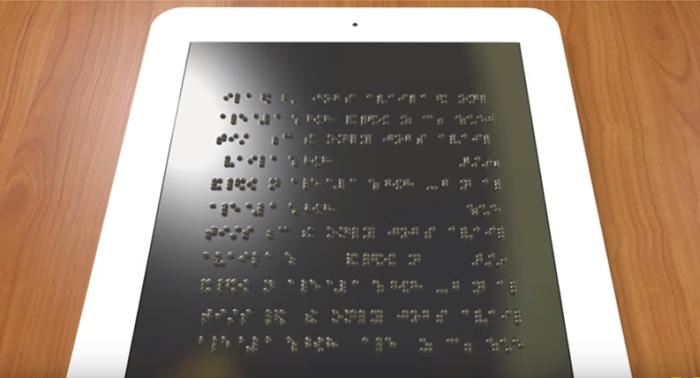 Tablet com sistema Braille
