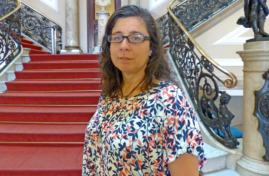 Luciana Muniz, Luciana Muniz, presidente da Associação de Servidores da Biblioteca Nacional (ASBN). Foto: Hanna Gledyz / Agência Biblioo.