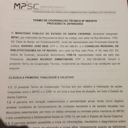 Termo de cooperação técnica assinado. Foto: Facebook CRB14.